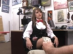 Card dealer pawns her pussy and fucked for some money