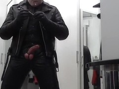 leather biker cigare smoke and poppers masked