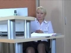 Pretty blonde MILF secretary in stockings needs a junior cock