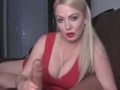Blonde gives nice handjob