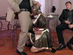 Kinky pornstar Latex Lucy pleasures two studs