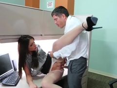 Office slut Giselle Leon receives a hard twatting at her cubicle