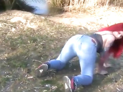 Redhead german slut inseminated in nature