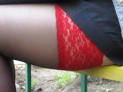 Black stockings with red tops upskirt