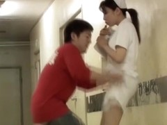 Great pink panty on the Japanese nurse sharking movie