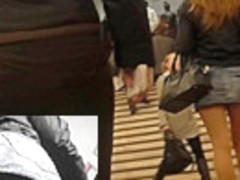 Upskirts in public with sexy girl in short jean skirt