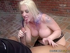 Leya Falcon sucks and deepthroats many black cocks before fucking