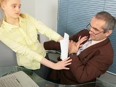 TrickyOldTeacher - Sassy blonde sucks older teachers cock and rides his cock hard