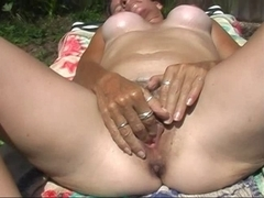 Fingering my juicy bushy wet crack in the sexy Florida sun