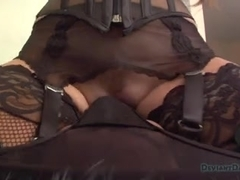 Wicked busty dominatrix rides her slave.s face