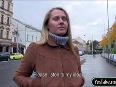 Sexy amateur blondie Czech girl Zuzana pussy banged for cash