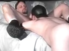 Hot gay men in latex fuck furiously