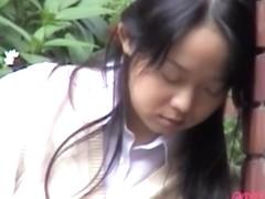 Sweet Japanese gal in a wild public sharking video