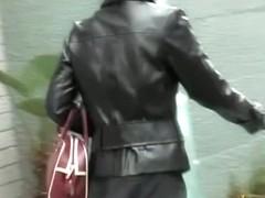 Sharking of a gorgeous Asian girl wearing a short skirt