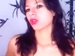Ideal slender Columbian gal plays with her teats