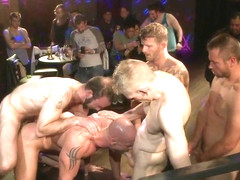 Bound in Public. Muscled stud has had enough but the horny crowd says no