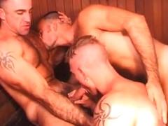 Steamed! Hot muscular daddies in sauna sex