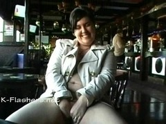 Amateur bbw Kinx upskirt masturbation in a bar and outdoor public nudity of toying fat babe