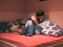thin girl friend gets stuffed on bed