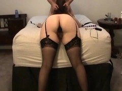 Hot ass girl in black stockings