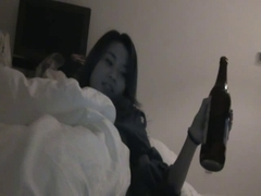 Chinese gal bottle masturbation