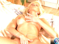Blonde spreads her legs for a dildo pussy play