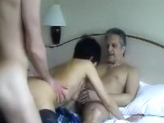 Two older friends fucking his wife