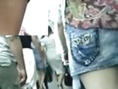 Up petticoat spy web camera following lengthy legged non-professional