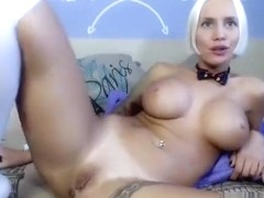 Blonde TanjaHot plays with a rubber dildo