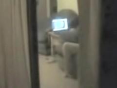 Window spy cam shoots girl masturbating before comp