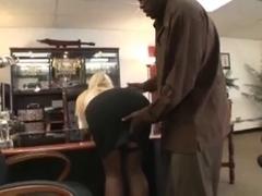 Blonde hottie loves big black cock with her twat