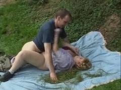 Italian Blonde Mature Plumper outdoor rough sex