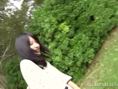 Skinny Mikako Abe gets nailed by two hunks
