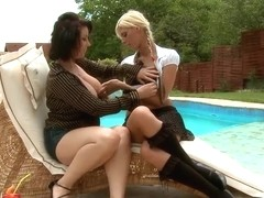 Nanny and White Angel caressing near pool