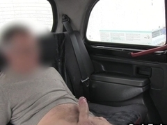 Tattooed brunette swallow cum in fake taxi