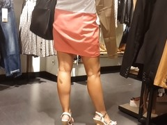 Sexy blond in pink skirt upskirt