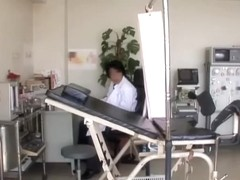 Sako gets her asian twat examined in the gynecologist room