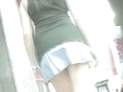 lovely bit of upskirt in a slow motion wearing a short mini skirt