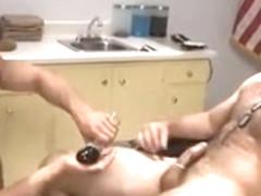 Hot hunk masturbates while sucking his boyfriend's cock