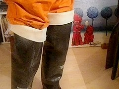 nlboots - orange overalls rubber waders