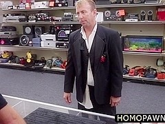 Cheated groom arrives in the shop and gets anal fucked by dudes hard rock