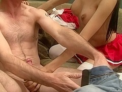 Brunette shemale does handjob to her horny lover