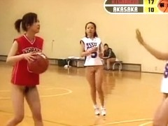 Girls from Asia playing basketball and showing naked tits