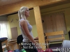 Amateur blonde Eurobabe drilled in the bowling alley