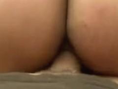 Ebony whore gets a creampie in POV porn video