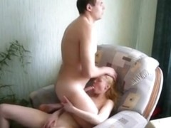 Skinny blonde girl makes a sextape with her bf on the sofa