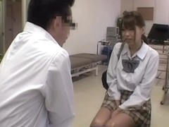 Jap schoolgirl fingered in voyeur medical fetish video