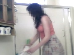 Cute dark haired roommate strips and washes on spy cam