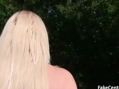 Skinny blonde fucks in park outdoor