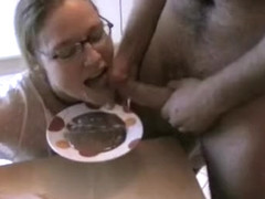 Nerdy girlfriend gets a stiff penis right after her birthday cake